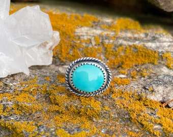 Pilot Mountain Turquoise Sterling silver ring size 6 Meadow Bleu