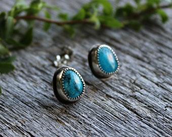 Turquoise sterling silver stud earrings Sleeping Beauty mine American turquoise Meadow Bleu