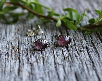 Pink tourmaline sterling silver stud earrings meadow Bleu handcrafted