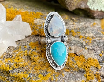 OOAK moonstone & turquoise sterling silver ring. Size 7.75