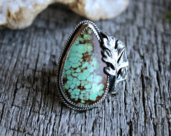 Forged #8 Mine turquoise ring Meadow Bleu Handcrafted Statement ring size 7.75