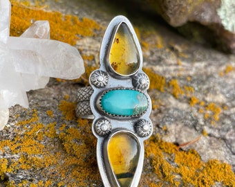 OOAK Amber & turquoise Sterling silver ring size 7.5