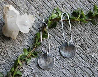 Forged hammered dangle sterling silver earrings meadow bleu rustic earrings