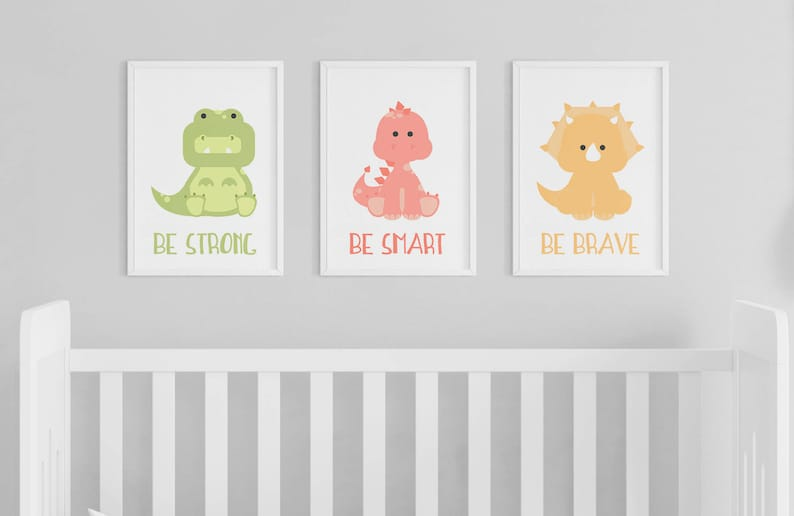 Dinosaur Be Brave Be Smart Be Strong Nursery Art  Set of 3 image 0