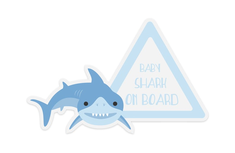 Shark Baby On Board Sticker  Gift for new mom image 0