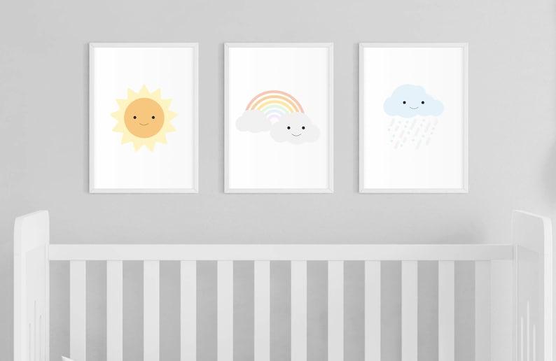 Printable  Sun Rainbow Cloud Nursery Print image 0