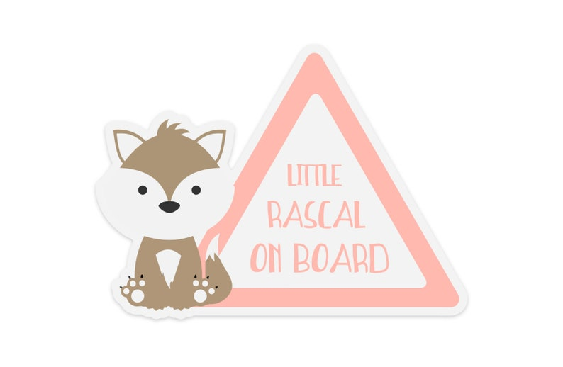 Little Rascal Wolf Baby On Board Sticker  Gift for new mom image 0