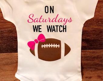 c41857015 Football Onesie, Football shirt, On Sundays we watch football, On Saturdays we  watch footbal, Baby Football Outfit, Baby Football Onesie