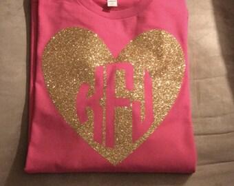 Monogram Valentine Shirt, Monogram Heart Tee, Monogram Valentine's t-shirt, Heart Tee Shirt, Personalized Valentines Shirt