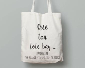 Personalized tote bag: the text, color, font