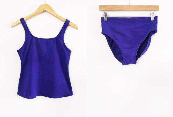 Clearance Lands End Dark Purple Two Piece Vintage Swimsuit Etsy