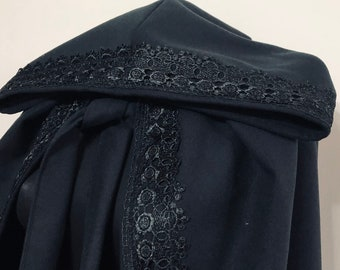 Black Wool Hooded Cloak with Lace, Wool Hooded Coat Lace, Halloween Cape, Wool Hooded Cape, Medieval Cape, Autumn Cloak