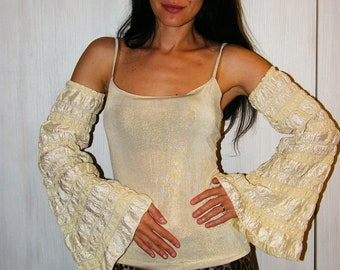 Flared Long Sleeves, Mitts, Wedding mitts, Belly Dance, Burning man, Half Sleeves