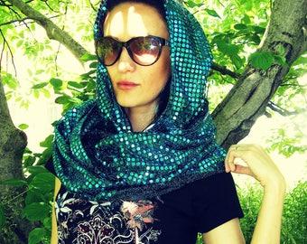 Burning man Hood Festival hood Rave Hood collar Blue, Gold, Pink, Turquoise