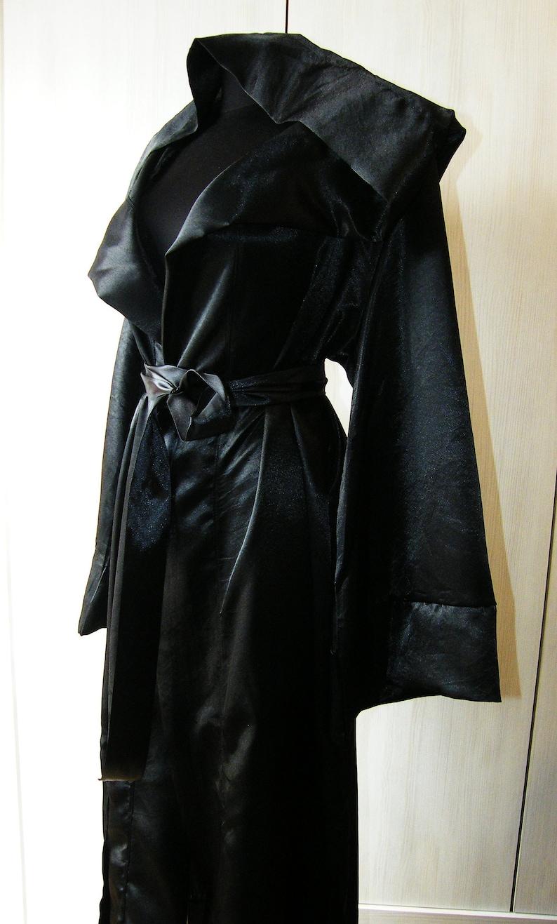 9254203099af1 Satin Black Robe Long Hooded Robe Ritual Robe Black Witch | Etsy