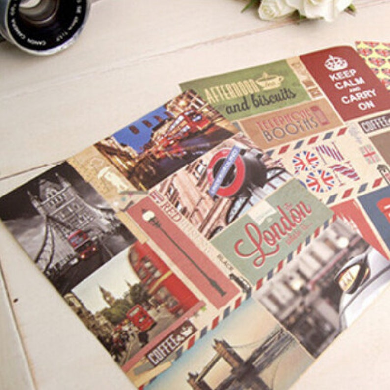 London Sticker Set  3 Sheets Of Colourful London Stickers  Scrapbooks Seals Planners Diaries
