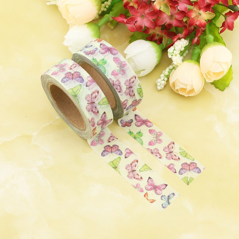 Washi Tape Butterfly Multi Coloured Butterflies 15mm x 10m