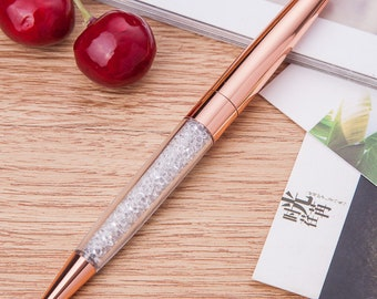 Gorgeous Rose Gold Pen Filled with Crystal Elements / Pretty Pens/ Planner Pen/Ladies Pens/Cute Pens