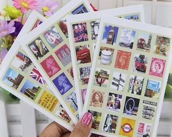 London Stamp Sticker Set / London Scrapbooking Stickers Set