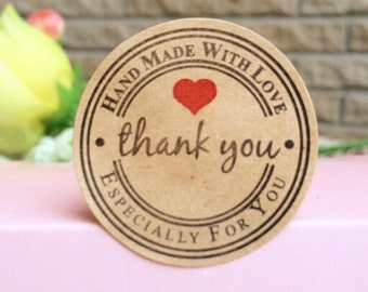 Round retro paper stickers Thank you, Hand made with love, 36 pieces, Craft Paper, scrapbooking, packaging, party gift wrap