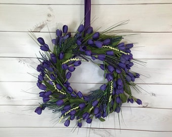 Tulip Wreath- Mother's Day- Spring Wreath- Summer Wreath- Door Decor- Home Decor- Housewarming Gift- Purple Tulips- Bedroom Decor-Wall Decor