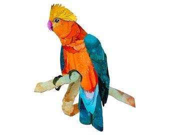 The Galah, Australian bird series. A4 print of sashamareedesign alcohol ink collage original art.