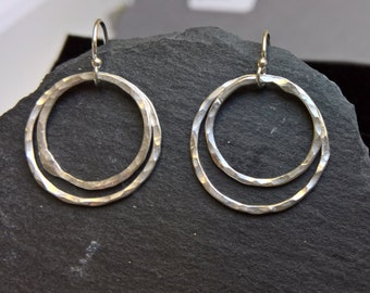 Double hoop earrings, fine silver hoop earrings, silver hoops, dainty hoop earrings, everyday earrings for women, silver hoop earings
