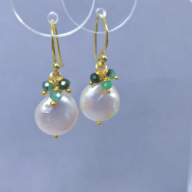 2fdfb40f8073a Pearl drop earrings, emerald and pearl earrings, pearl and emerald earrings  dangle, Pearl and gold vermeil earrings, May birthday gift ideas