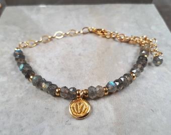 Lotus bracelet gold, Labradorite bracelet, dainty lotus bracelet layered, labradorite bracelet UK, gold lotus bracelet, yoga bracelet women