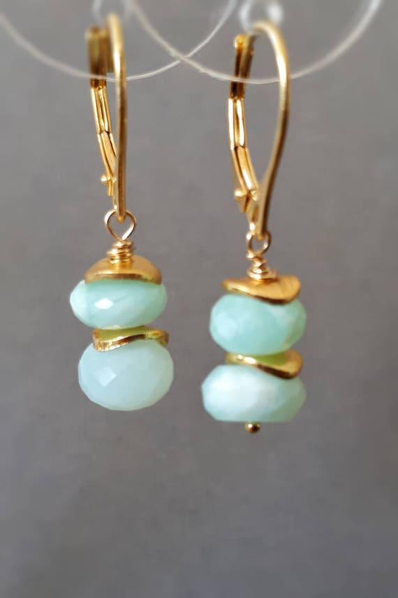 Peruvian Opal Gemstone Vermeil Gold earrings