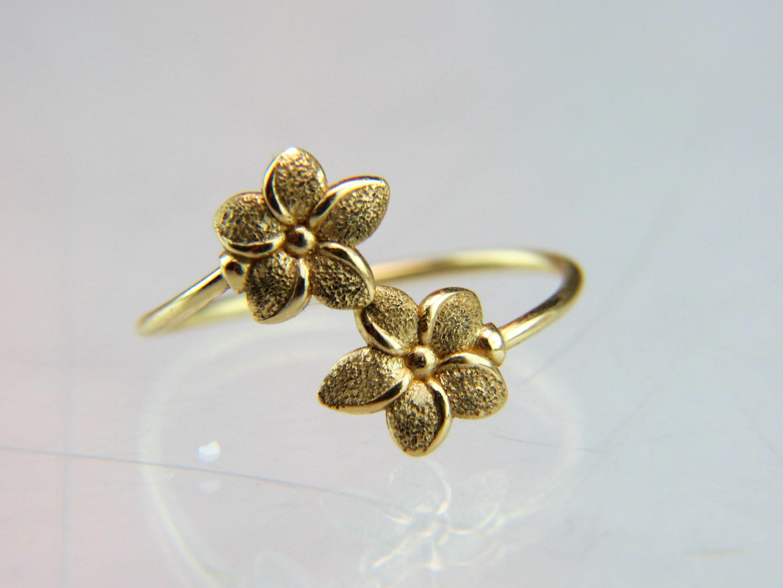 14k yellow gold midi flower bypass ring 14k gold hawaiian plumeria 14k yellow gold midi flower bypass ring 14k gold hawaiian plumeria womens ring girls ring size 5 adjustable izmirmasajfo