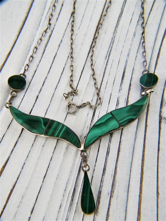 Victorian Malachite Book Chain Necklace 950 Silver
