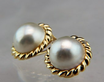 14K Gold Pearl Earrings South Sea White Pearl French Omega Earrings  7.1 grams