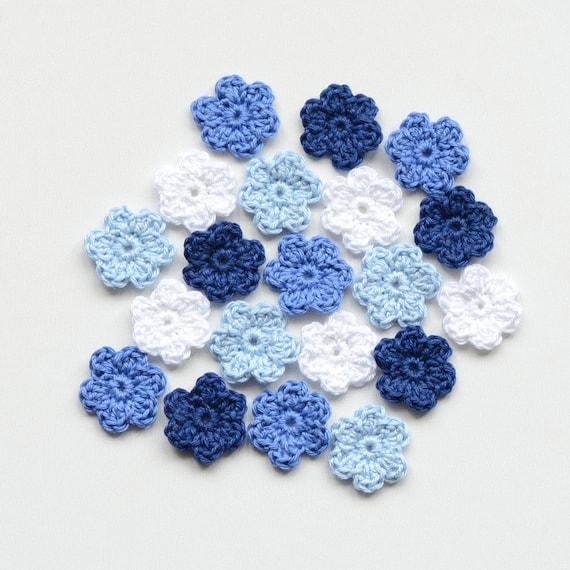 Mini Häkeln Blumen Blau Kleine Applikation Set Stricken Kleine Etsy