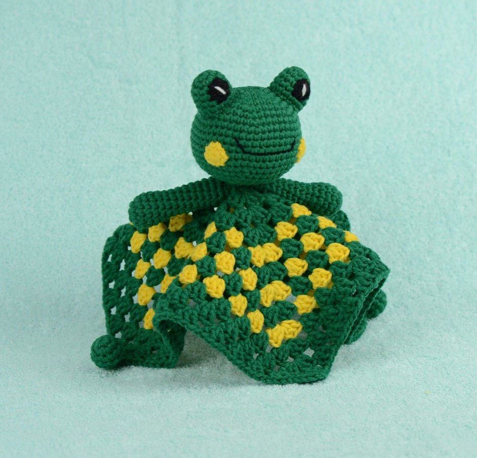 Frog Lovey Crochet Baby Toy Safety Security Blanket Baby   Etsy
