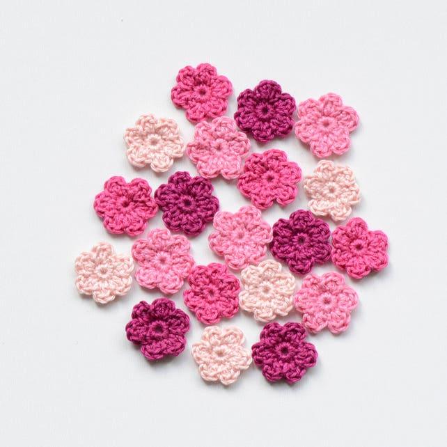 Mini Crochet Flowers Fuchsia Tiny Applique Set Knit Small | Etsy