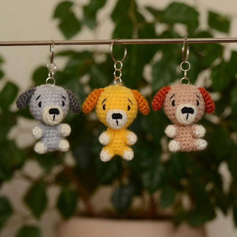 e8e7eacee70 Hond gehaakte sleutelhanger kleine Puppy speelgoed dierlijke | Etsy