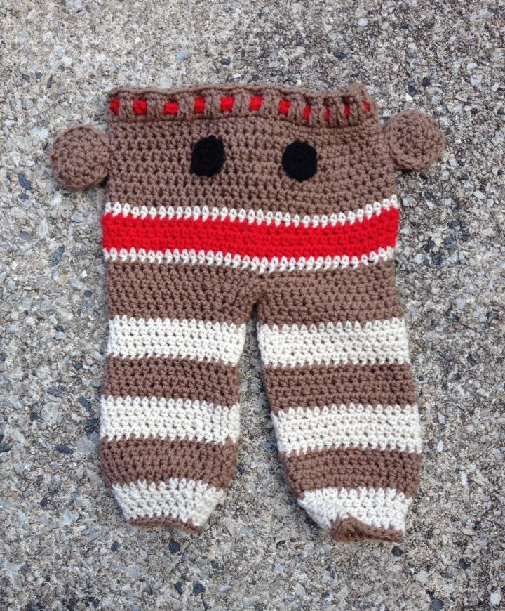 Sock Monkey Pants For Ages 6 12 Months Handmade Crochet Etsy