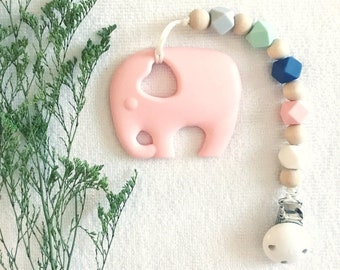 Baby Girl Pacifier Clip in Sweet Pea w/ Teether; Soother Clip; Dummy Clip; Teething set; universal dummy clip; baby girl paci clip