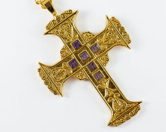 mds Antique Type Gold Plated Pectoral Cross/chain