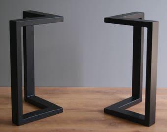 L shape steel bench legs, coffee table legs, bench base, coffee table base (SET OF 2)