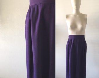 vintage 1990s skirt • pencil shape • aubergine・FREE SHIPPING