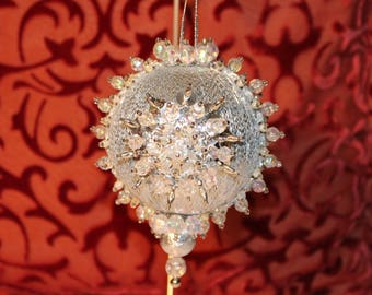 Vintage Handmade Ornament,Vintage Christmas Ornament,Silver Ornament, Beaded Ornament,Silver Decor,Silver Christmas