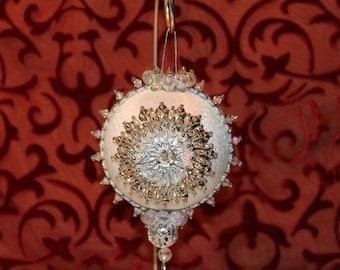 Vintage Christmas Ornament, Vintage Handmade Ornament, White Ornament, Silver Ornament