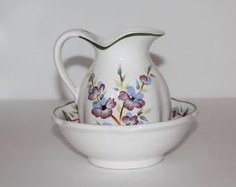 Vintage Enesco Pitcher,Small Ceramic Pitcher and Basin, Vintage Enesco Pitcher, Pitcher With Purple Flowers