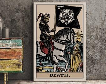 Death Tarot Art Print Major Arcana Tarot Card Vintage | Etsy