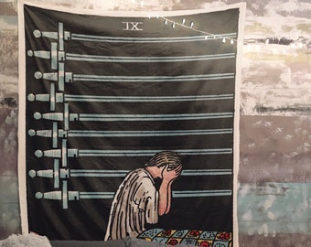 The 9 of Swords Card Tapestry - Rider Waite 9 of Swords Tapestry