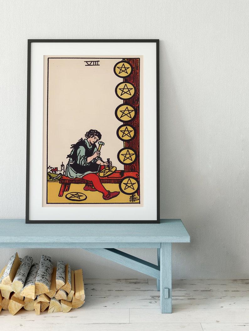 Eight of Pentacles - Tarot Card Print - The 8 of Pentacles Card Poster, No  Frame