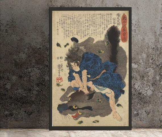 Japanese Print Ukiyo E Samurai Warrior Fighting Wild Boar Poster No Frame