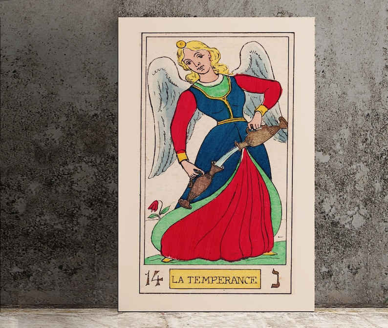 Temperance- Tarot Card Print - The Temperance Card Tarot Poster an Oswald  Wirth Print, No Frame